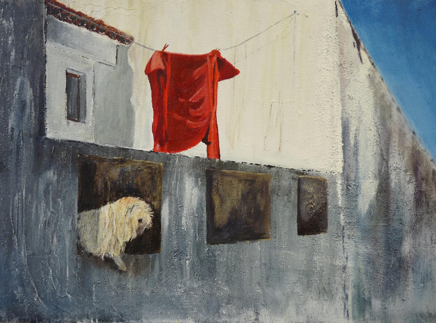 Das rote Hemd gemalt