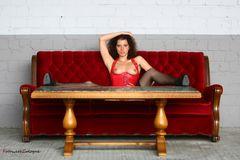 das rote Outdoor Sofa