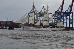 Das Segelschulschiff der Deutschen Marine führte die Einlaufparade an...