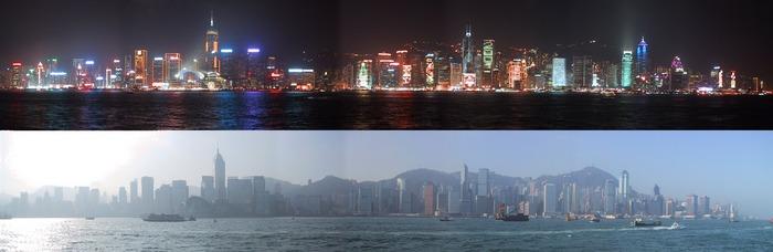 Day and night of Hongkong Island (from Kowloon)