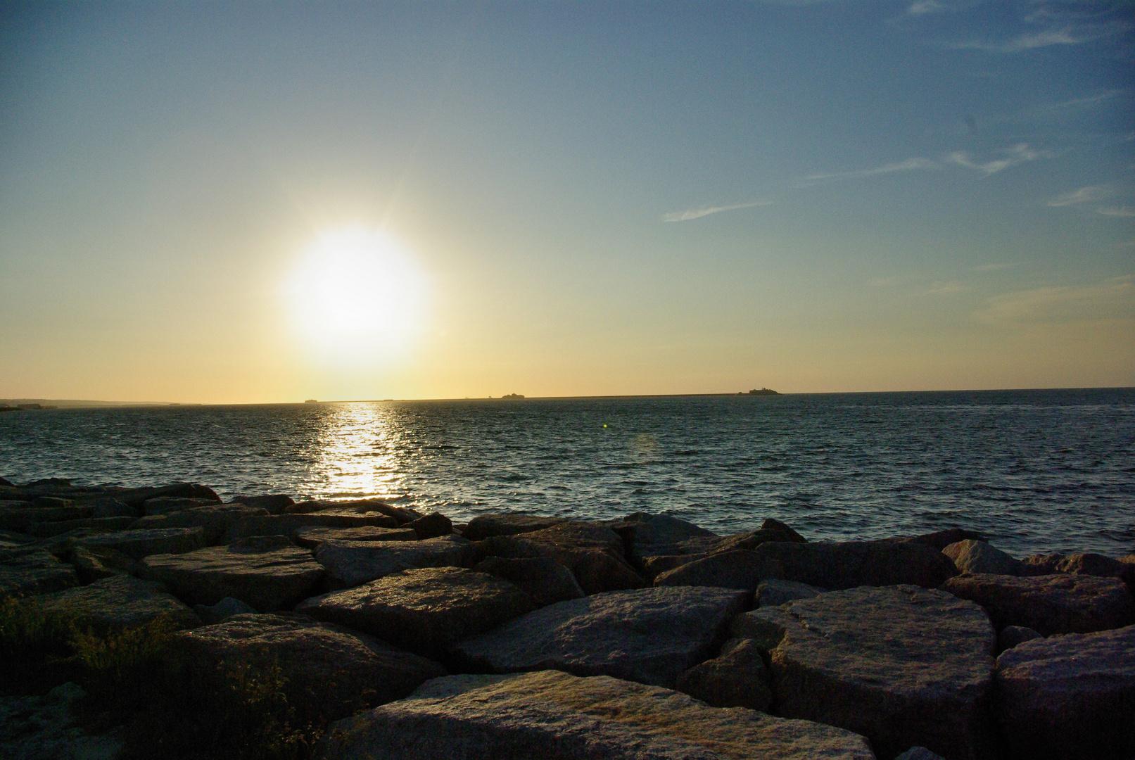 début du coucher de soleil