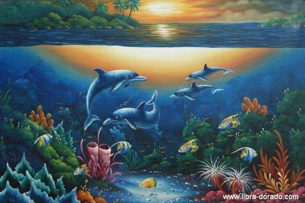 Delphine im Sonnenuntergang (Handgemaltes Ölgemälde)