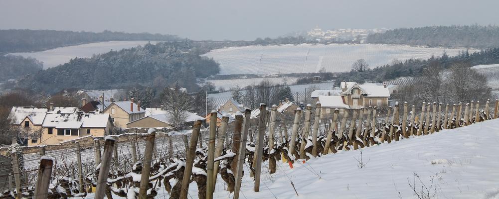 Depuis Mercurey , le village d'Aluze en hiver....