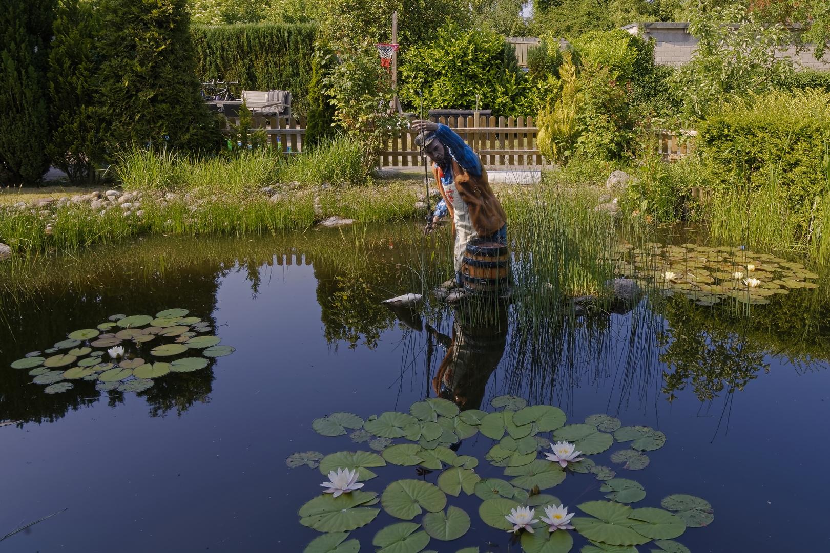 Der Angler im Teich