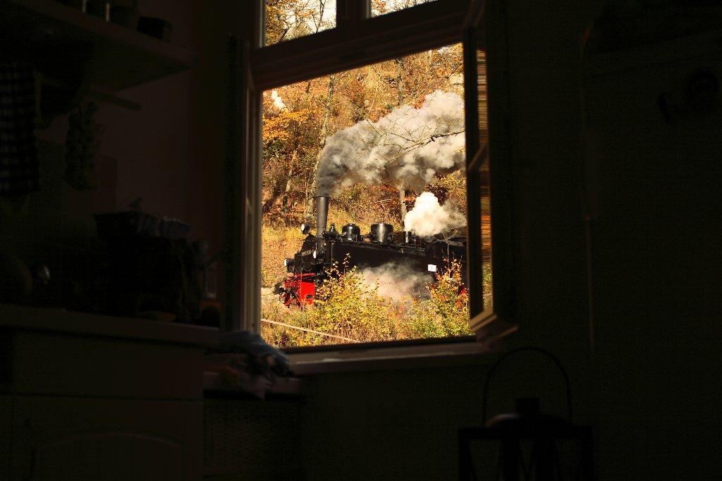 Der Blick aus dem Küchenfenster 99 5906  Drahtzug im Oktober 2007
