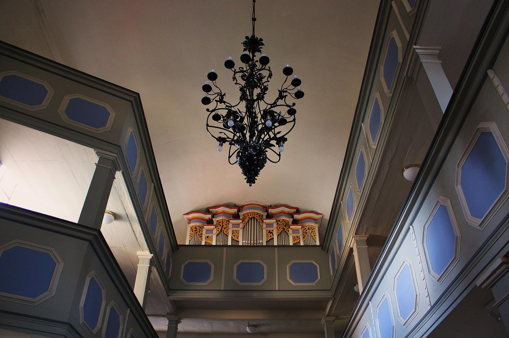 Der Blick zur Orgel Marienkirche Zwätzen