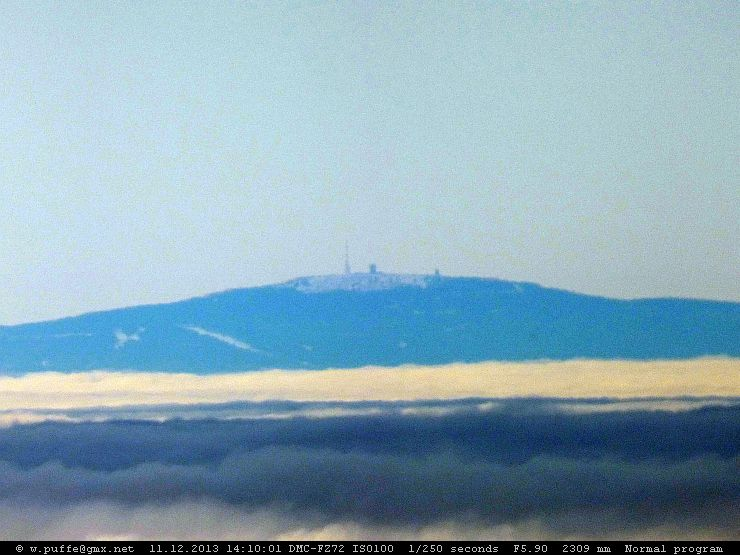 Der Brocken aus 127km Entfernung