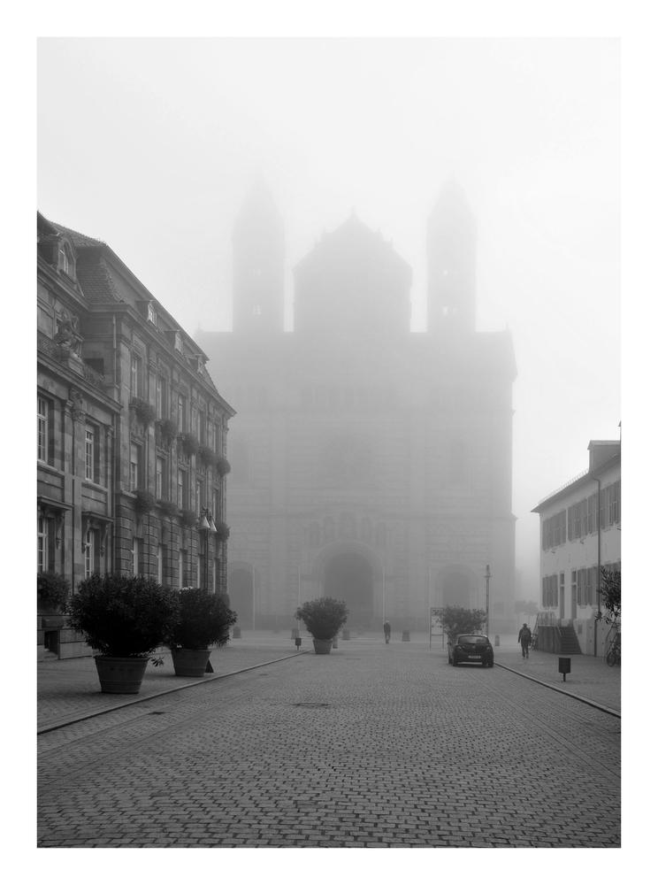 Der Dom zu Speyer im Morgennebel