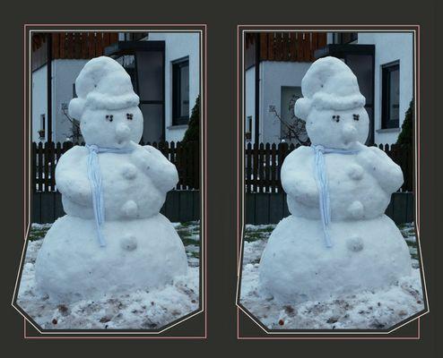 Der erste Schneemann bei uns.