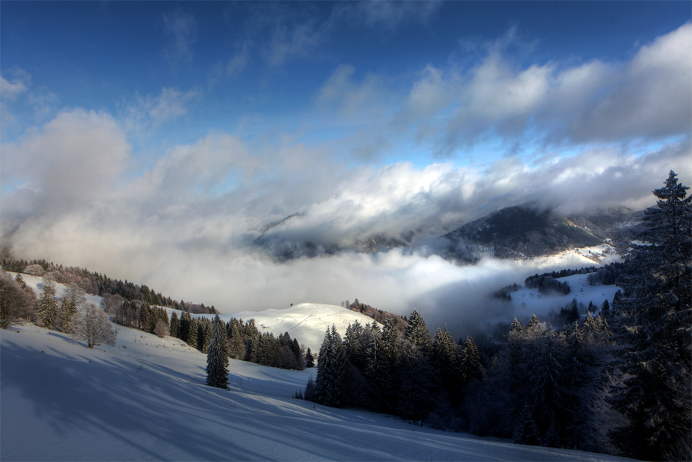 Der Feldberg im Nebel