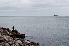 Der Fischer und das Schiff.
