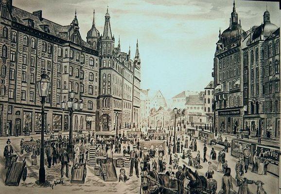 Der Fischmarkt in Hamburg um 1900