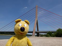 Der gelbe Bär an der Fleher Brücke
