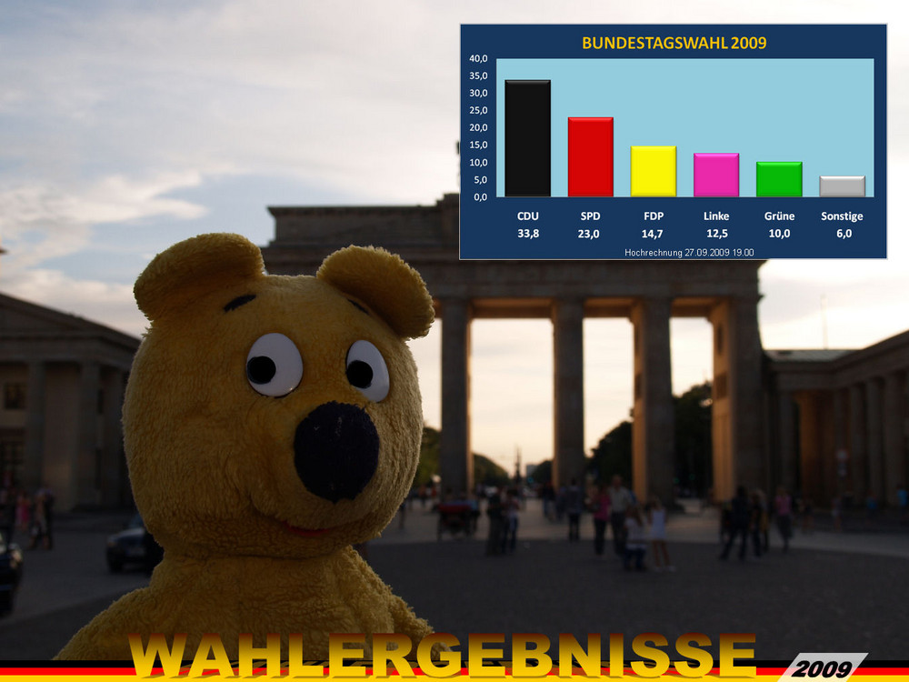 Der gelbe Bär empfiehlt - Wählen gehen >WAHLERGEBNISSE