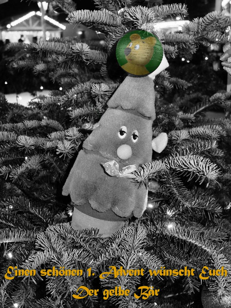 Der gelbe Bär wünscht einen schönen 1.Advent
