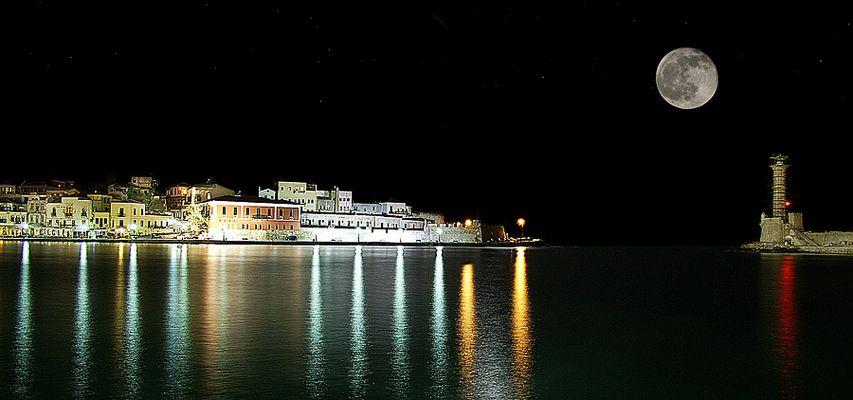 Der Hafen in Xania bei Nacht