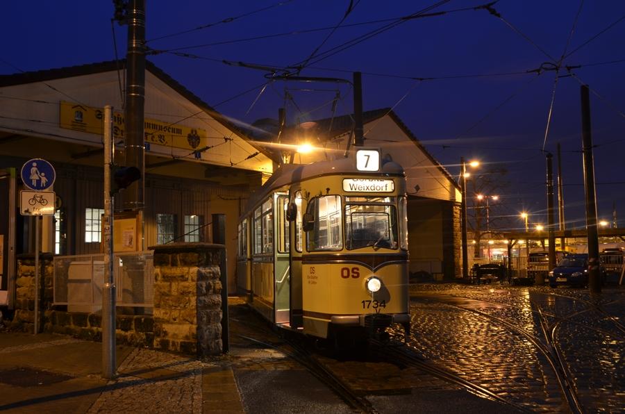 der hist Dresdener T4-62 kurz vor einer Sonderfahrt im Betriebshof Trachenberge