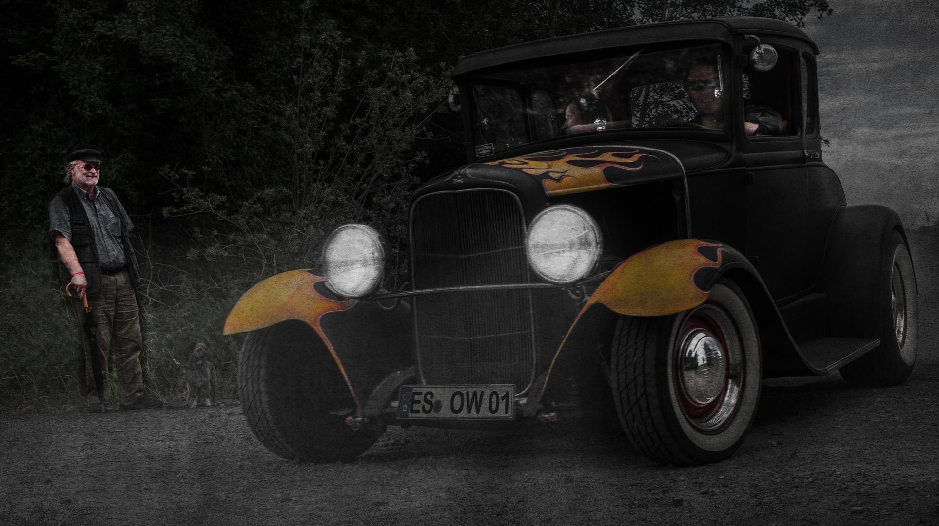 Der kleine Mann und das große Auto ....