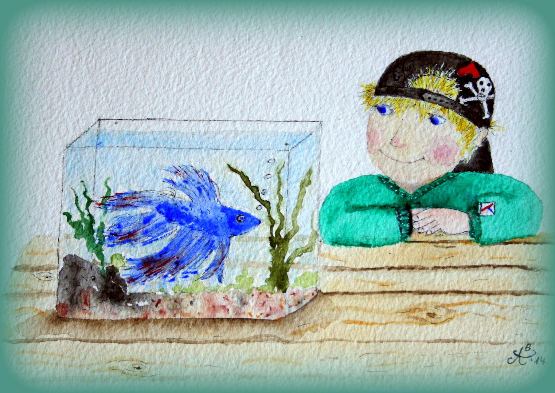 Der liebe Wichtel YURI und sein Fisch Dimitri