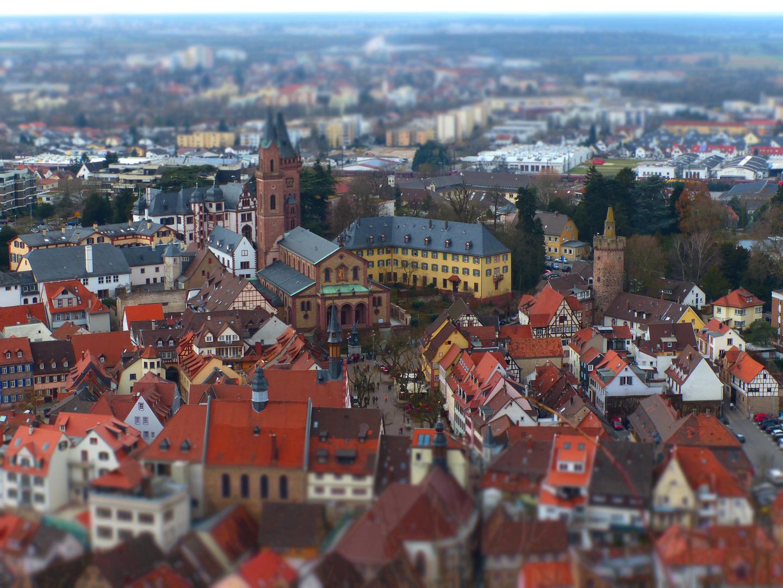 Der Marktplatz Weinheim von der Windeck aus fotografiert