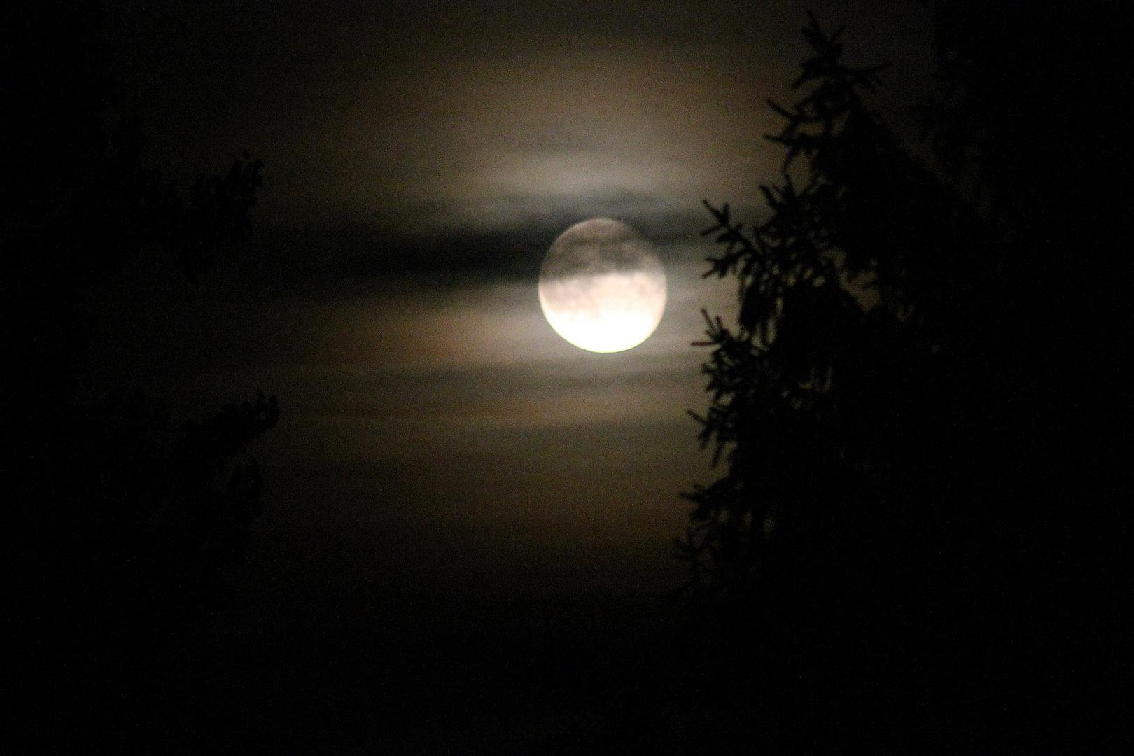 Der Mond über Rüsselsheim - ein Schnappschuss