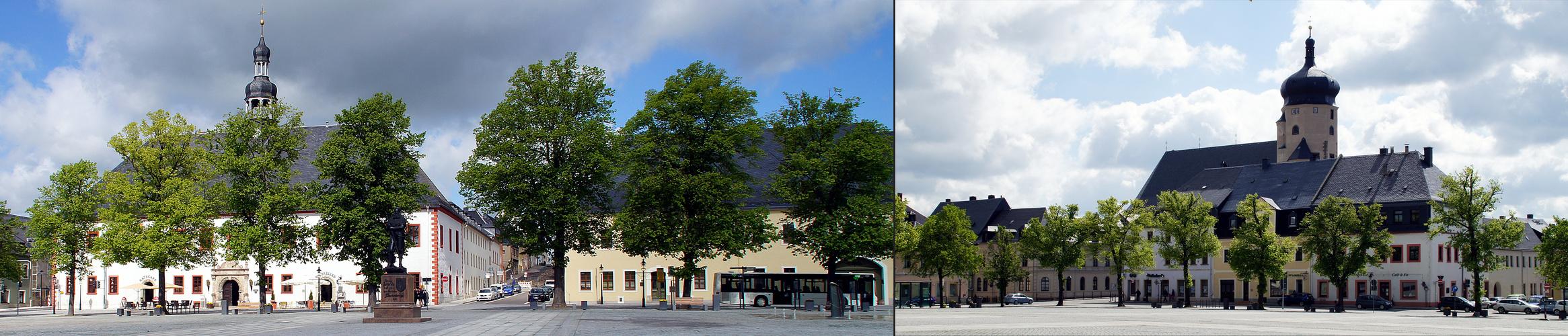 Der Renaissance-Marktplatz der Bergstadt Marienberg
