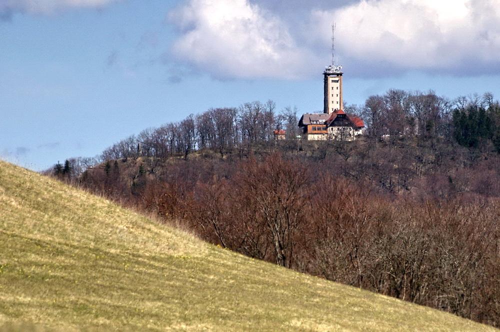 Der Roßbergturm gestern um 14 Uhr vom Meisenbühl aus gesehen