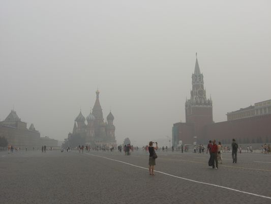 Der Rote Platz im Rauch