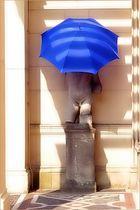 Der Schirm ist blau und ist jetzt da!
