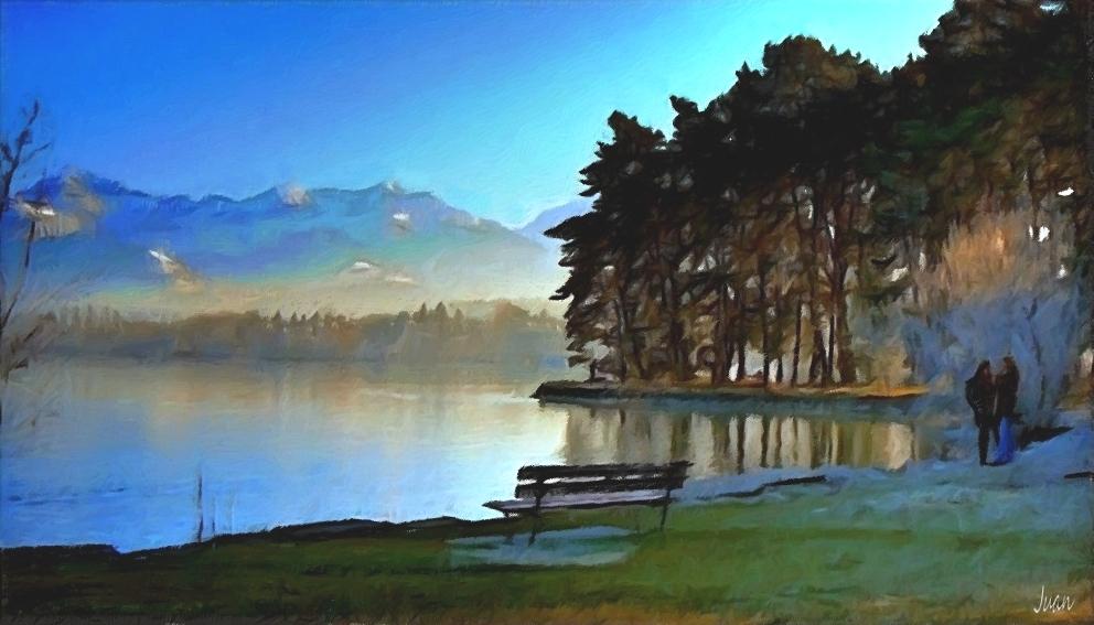 der Schwatz    -     Foto und Malerei