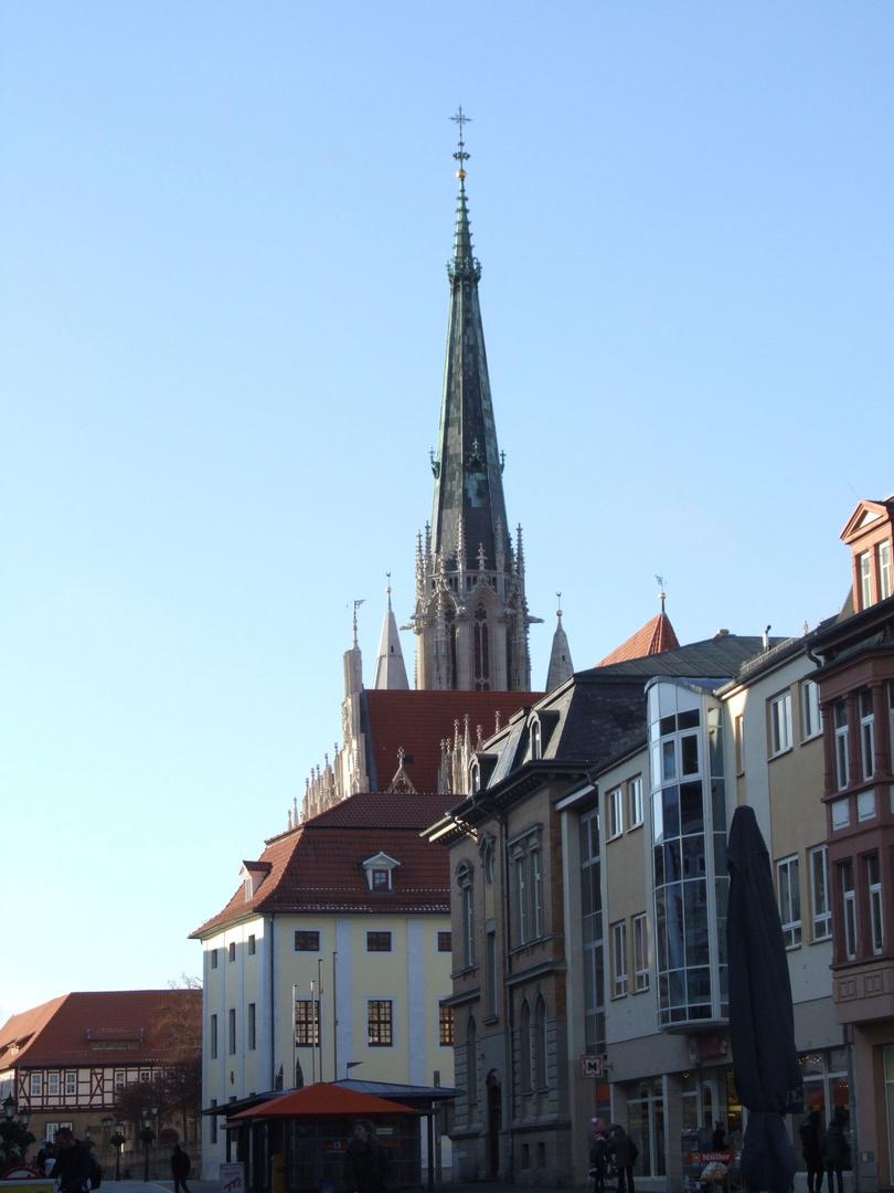 Der Turm der Marienkirche in Mühlhausen