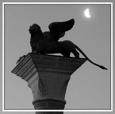 Der venezianische Löwe in S/W