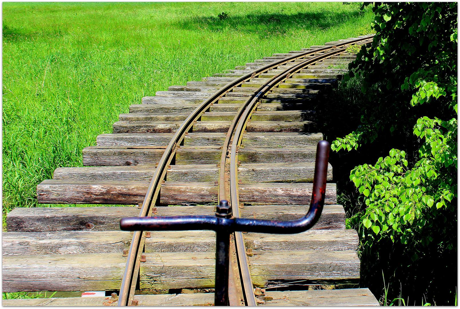 Detail der Schienenanlage der Feldbahn bei Glossen