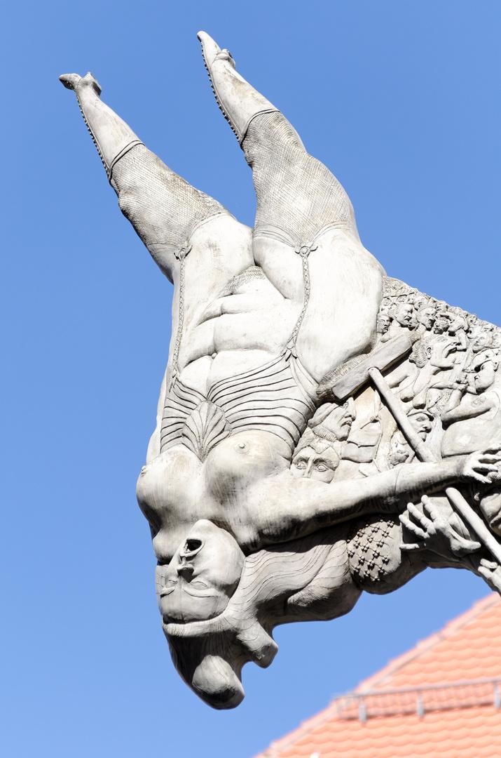Detail des Esels auf dem Markplatz in Biberach
