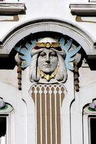 Detail einer Jugendstil-Fassade in der Düsseldorfer Altstadt