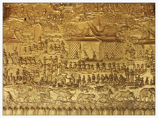 Detail im Wat Mai Suwannapumaram - Luang Prabang, Laos
