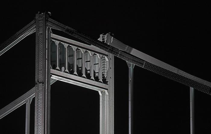 Detailaufnahme der Rheinbrücke Krefeld