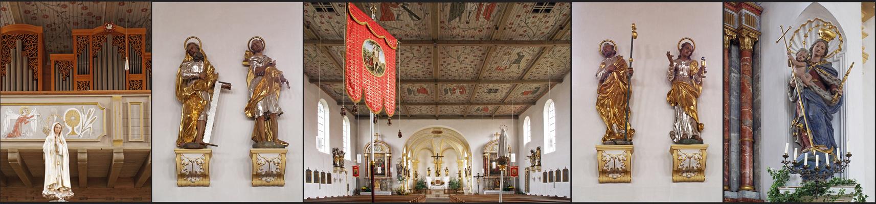 Détais de l'intérieur de l'Eglise de l'Immaculée Conception à Zusmarshausen
