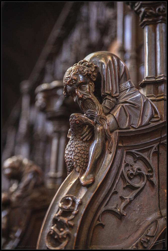 Detalle asiento coro Catedral nueva de Plasencia (Cáceres Extremadura España)