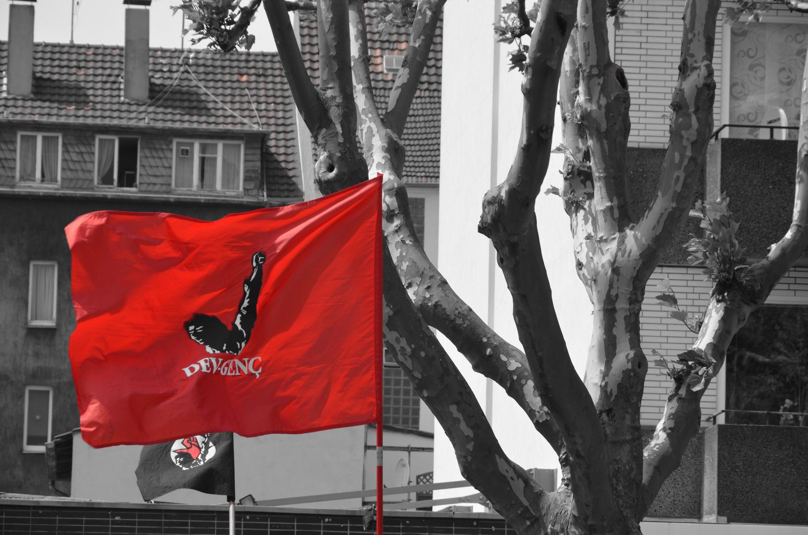 DEV GENC Flage bei einer Demo in Oberhausen