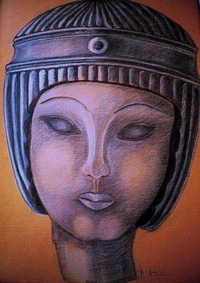 """""""Dibujo de Dama Egipcia """" realizado por Mª Antonia Rubio Maeso"""