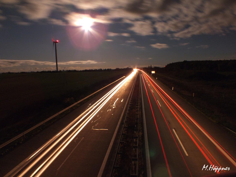 Die A20 bei Nacht