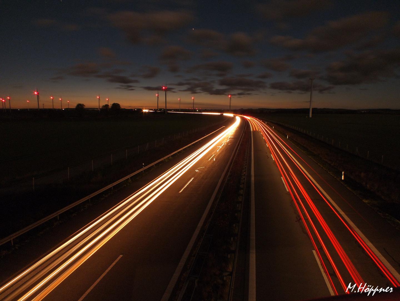Die A20 in der Nacht