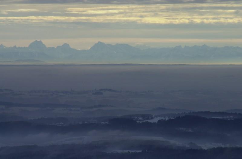 Die Alpen vom Bayerischen Wald bei Föhn