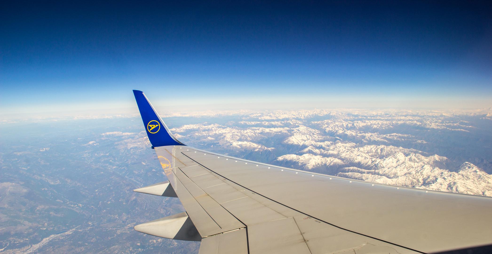 Die Alpen vom Flugzeug aus