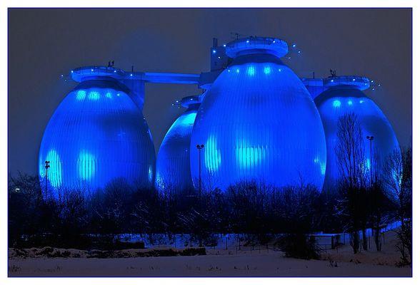 Die beleuchteten Eier in Bottrop sind auch sehenswert wenn es schneit ...
