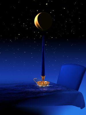 Die blaue Mondkerze