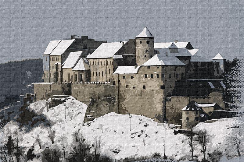 Die Burghauser Burg im Winter