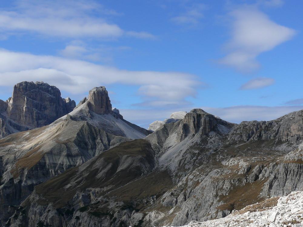 Die Dolomiten bei den Drei Zinnen in einem besonderen Licht