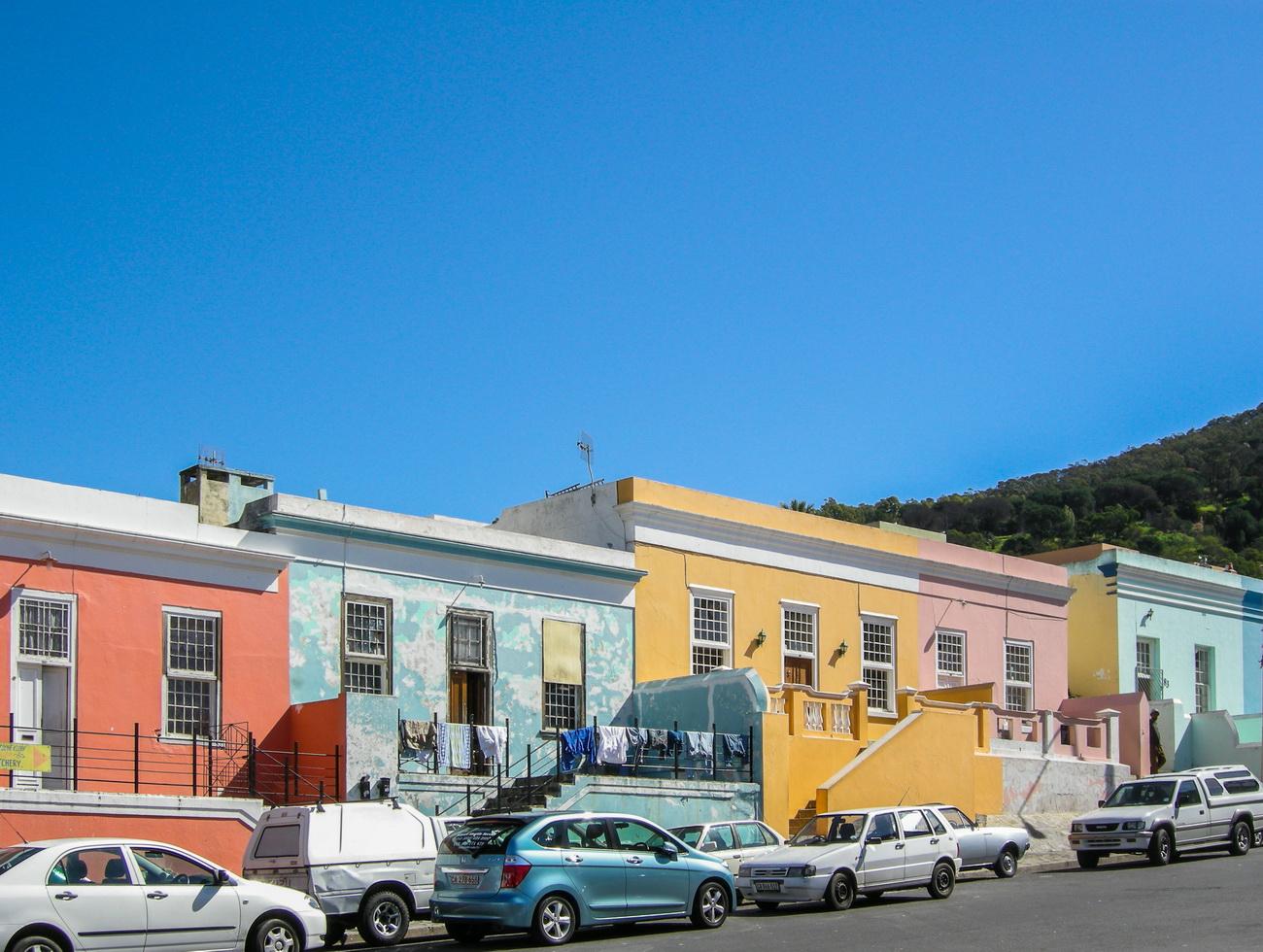 die farbenprächtigen Häuser in der Bo-Kapp, Kapstadt Südafrika